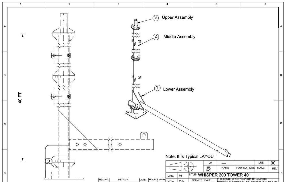 40 feet tubular tower with guy wire support
