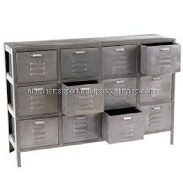 Antique Finish Chest Von Industrial Vintage Metal Von 12