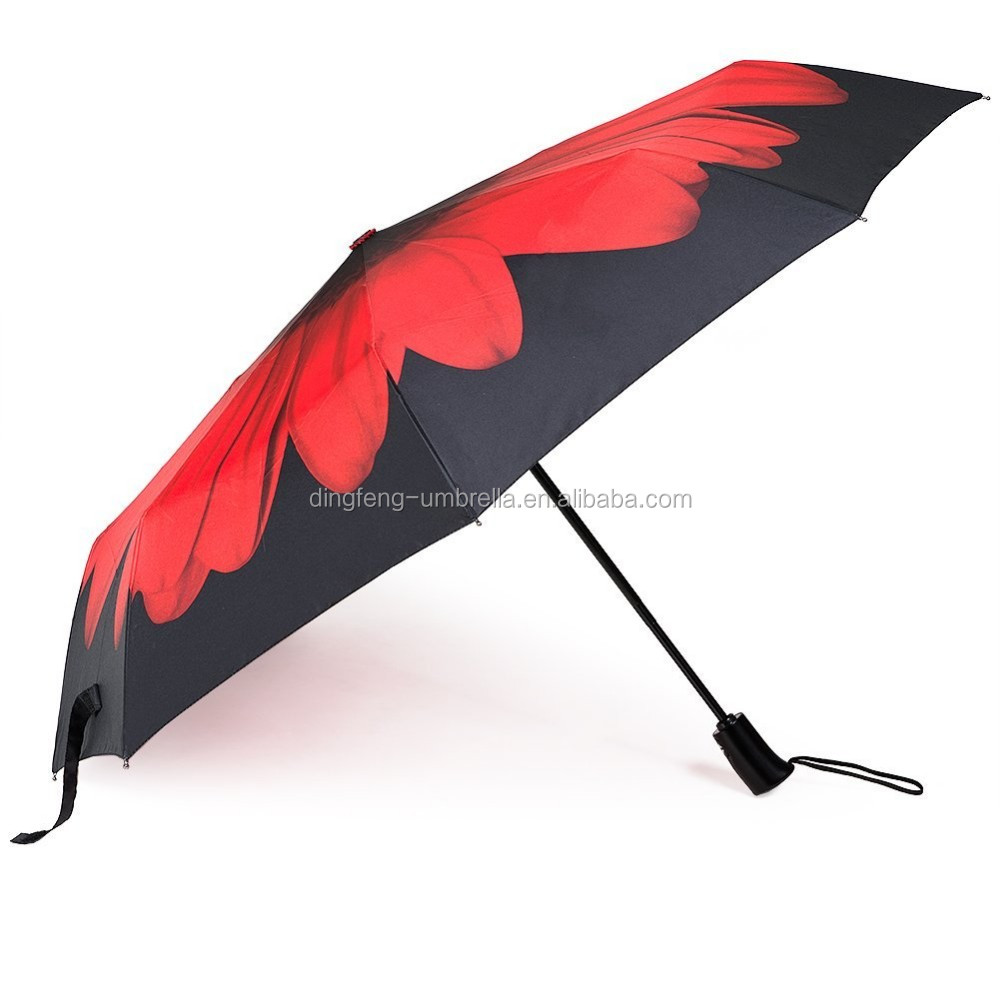 2017 auto open close red floral art print windproof canopy