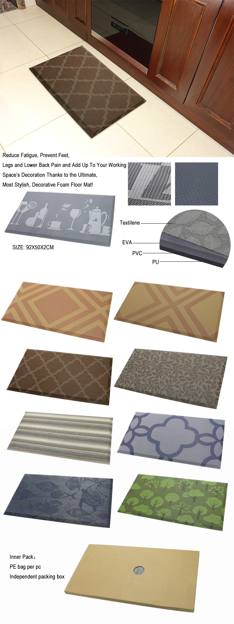 Comfort Anti Fatigue Pvc Foam Office Standing Desk Mat/kitchen Floor ...