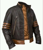 X-Men Style Wolverine Fashion Leather Jacket with sheep skin