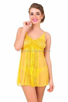 352e8ba80c36 Women Yellow Intimate Sexy Babydoll Nightwear With Panty - Buy Sexy ...