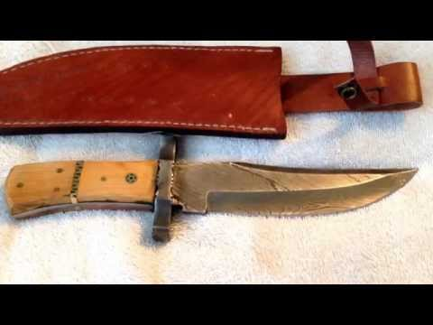 HRC Cutlery Co. Damascus steel & olive wood custom 11-inch Bowie knife