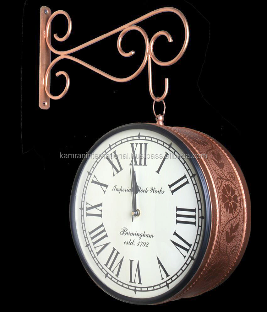 Copper antique Double side Station Wall Clock with artistic bracket, Train Station Wall Clock, Vintage metal wall clock