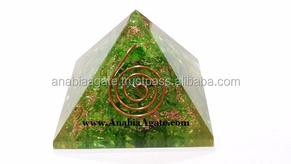 Big Rose Quartz Orgone Energy Pyramid With Flower Of Life Symbol And Crystal Point | Chakra orgone pyramid
