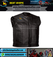 Top Quality Genuine Leather Wholesale Cheap Price Custom Made Vintage Motorbike/Motorcycle/Biker Men Leather Vest