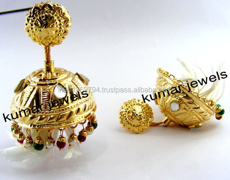 golden lotan jhumka buy lotan earrings designer jhumka