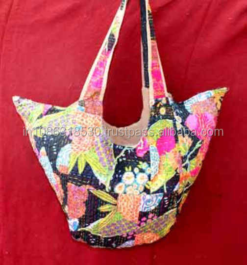 Indian handwork flower print Unique Embroidery kantha quilt hippie boho  women shoulder kantha bag hobo sling Tote bag shopping c127e2c99bac3