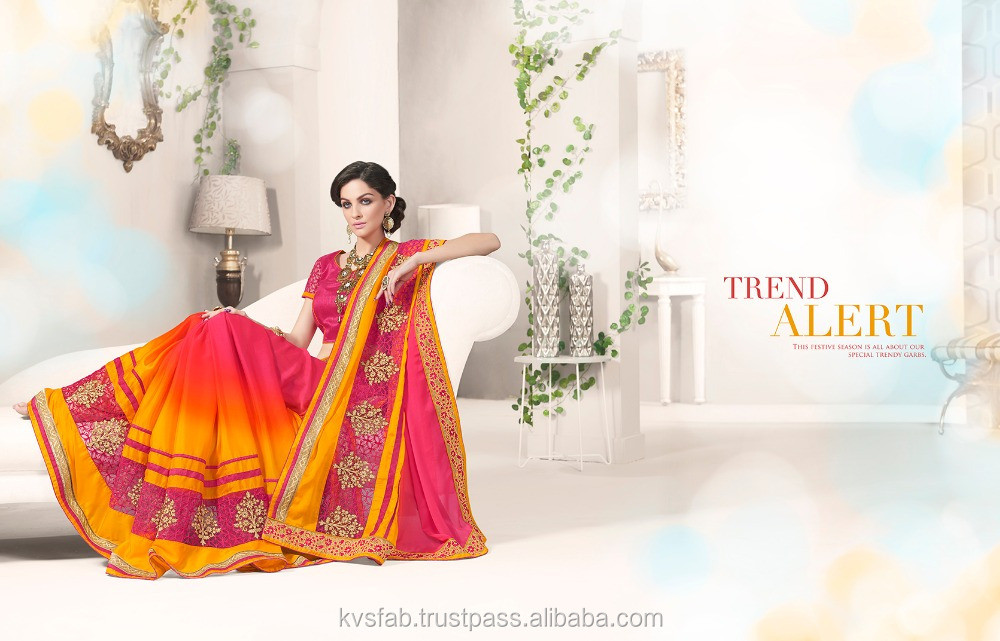 bollwood pink and orange party wear saree-3207