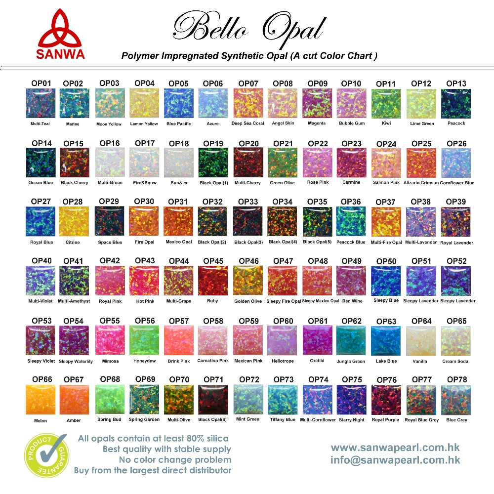 Synthetic Opal Color Chart In 55 Colors