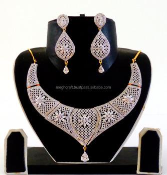 Cubic Zirconia Bridal Necklace Set American Diamond Necklace Set Wedding Wear American Diamond Jewelry Set Cz Jewelry Buy Indian Cubic Zirconia Jewelry Necklace Set Bridal Set Diamond Necklace Set