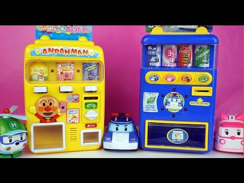 Pororo Robocar Poli Drinks Vending Machines Learn Colors Numbers Play Doh Surprise Eggs Toys