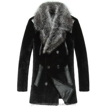 feba29c2c2d Men s Designer Shearling Leather Fur Coat Large Fox Fur Collar - Buy ...