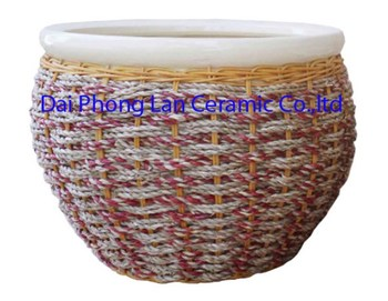 Saigon Flower Indoor Planter Pottery Design Rattan Cover Ceramic ...