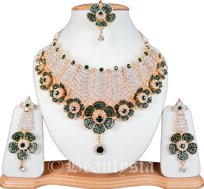 Kundan Glamorous Wedding Jewelry Sets Necklace Set With Earrings