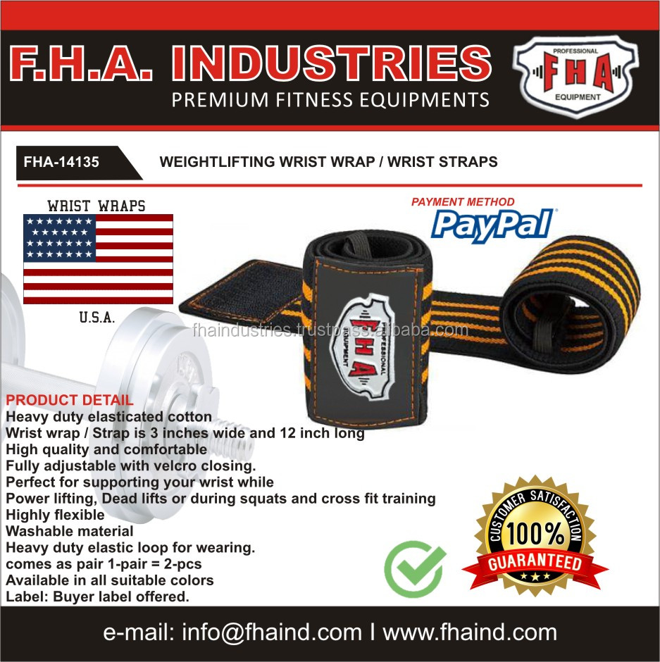 Heavy Duty Wrist wrap / Power lifting Strap / Cross fit Weightlifting TEAM USA wraps by FHA PAKISTAN