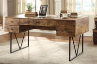 INDUSTRIAL METAL WOOD OFFICE DESK , EXECUTIVE OFFICE WOODEN DESK