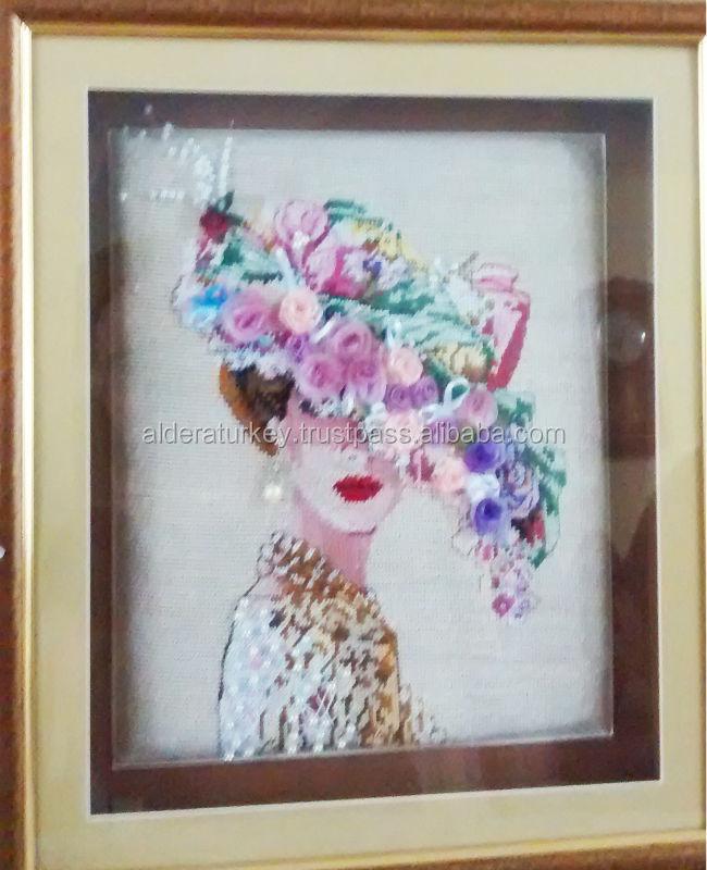 Turkish embroidery canvas cross stitch handmade artwork - Cuadros con botones ...