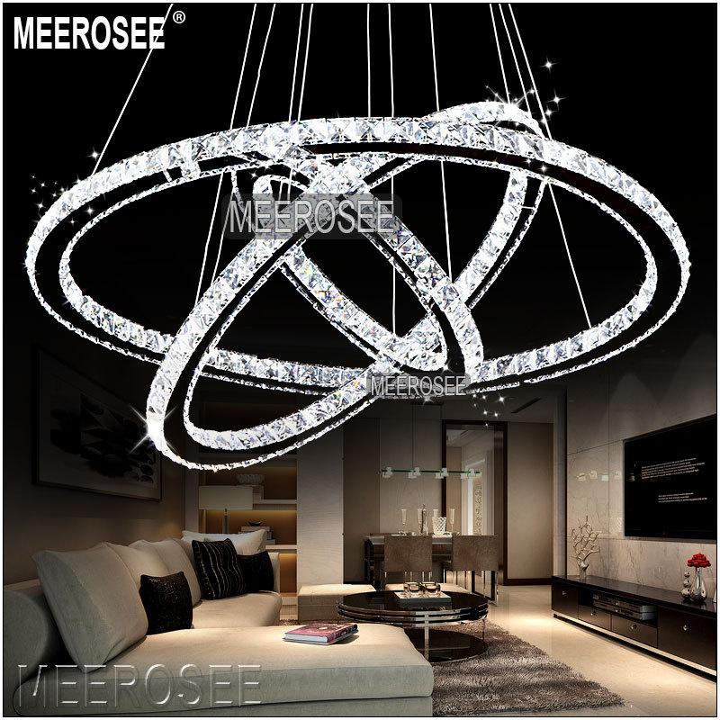 Meerosee Led Crystal Chandelier Light Diamond Ring Pendant Led ...