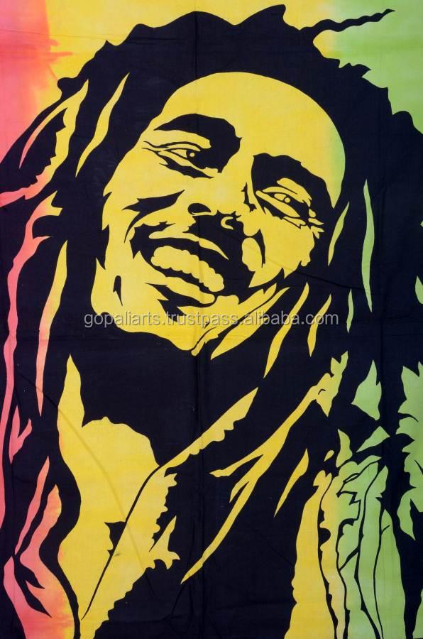 Indiano Bob Marley Gêmeo Psicodélico Hippie Tapeçaria Tapeçaria