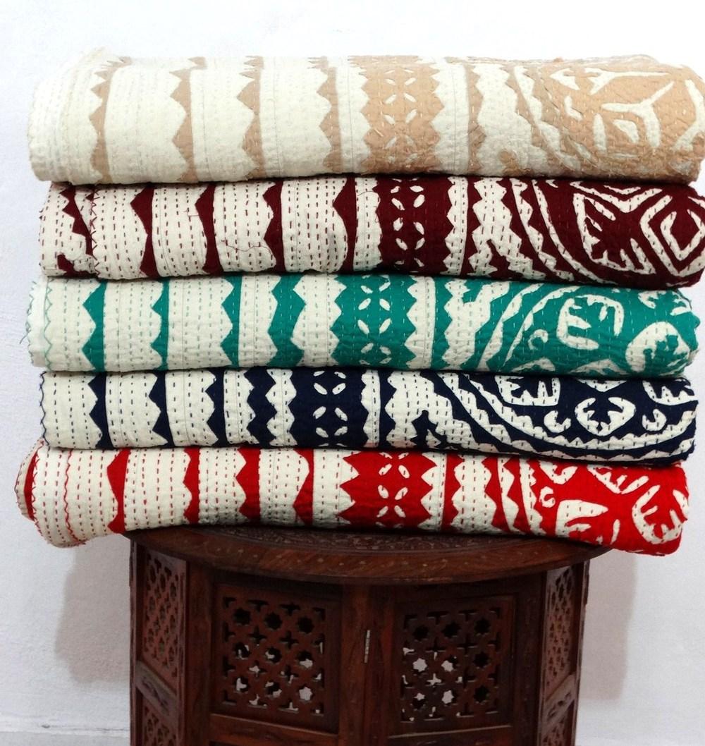 Mix Wholesale Set Of 5 Pcs Lot Applique Cut Work Kantha Bedspread ...