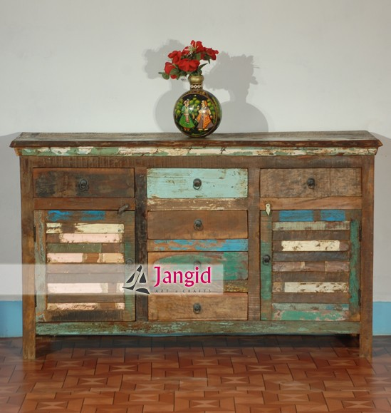Vintage rustieke teruggewonnen houten dressoir kast for Reclaimed wood manufacturers