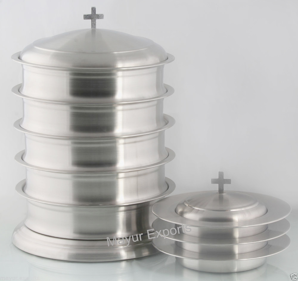 Stainless Steel Stacking Communion Tray Set and Bread Plate Set