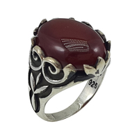 Handmade Turkish Jewelry Artisan 925 Handcraft Silver Men Ring JSMR357218