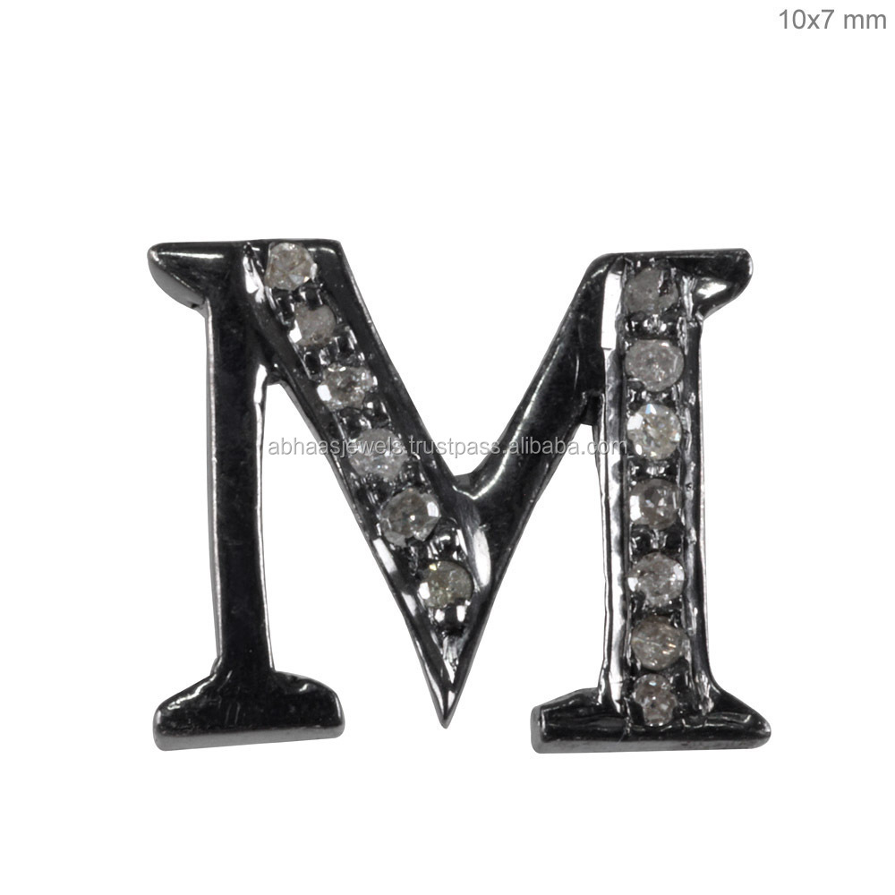 Diamond Components Jewelry 925 Sterling Silver Initial Letter Charm Pendant