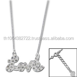 925 Sterling Silver Chain With Love Charm Cubic Zirconia Necklace Pendant Set Jewelry