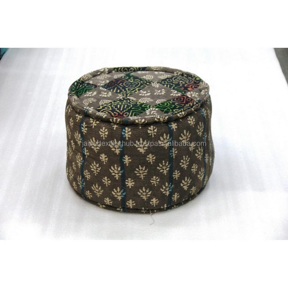 Traditionele katoen bloemen groothandel handgemaakte vierkante poef fabrikant andere antieke - Jaipur meubels ...