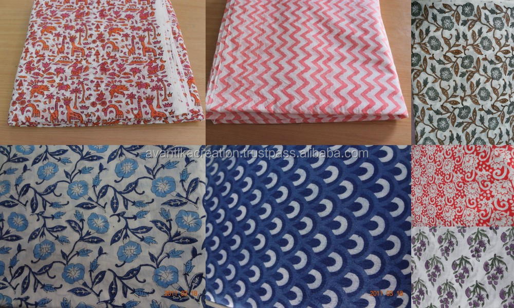 clothing fabric Hand block printed Designer Sanganeri natural cotton 100% running fabric wholesaler and Indian manufacturer