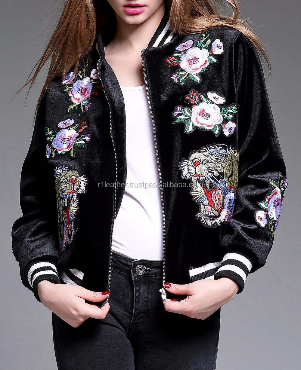 Embroidery or printing high quality OEM service womens varsity jacket casual slim fit jacket
