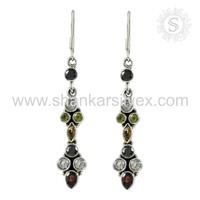Silver Jewelry Multi Fashion Earring Wholesaler Gemstone Silver Jewelry India