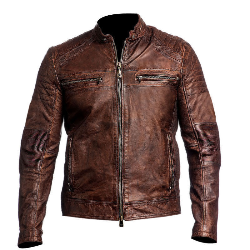 Handmade Leather Skin Men Distressed Brown Cafe Racer Genuine Premium Leather Jacket