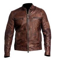 Handmade Leather Skin Men Distressed Brown Cafe Racer Genuine Premium Leather Jacket