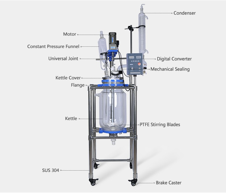 New Type 1 100 Liter Glass Jacketed Reactor Buy 1 100