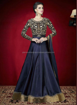 Latest Designer Blue Color Heavy Tapeta Silk Embroidered Anarkali ...
