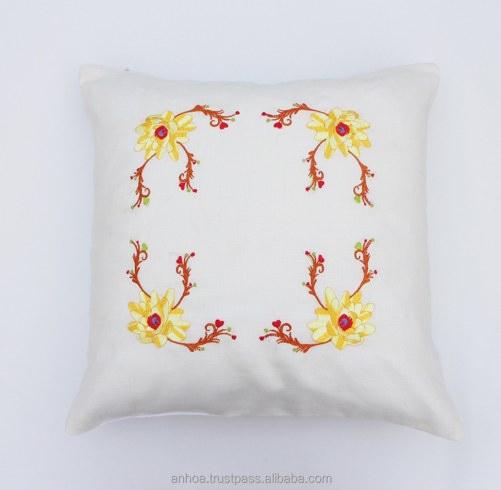 Latest design flower pillow cover handmade embroidery