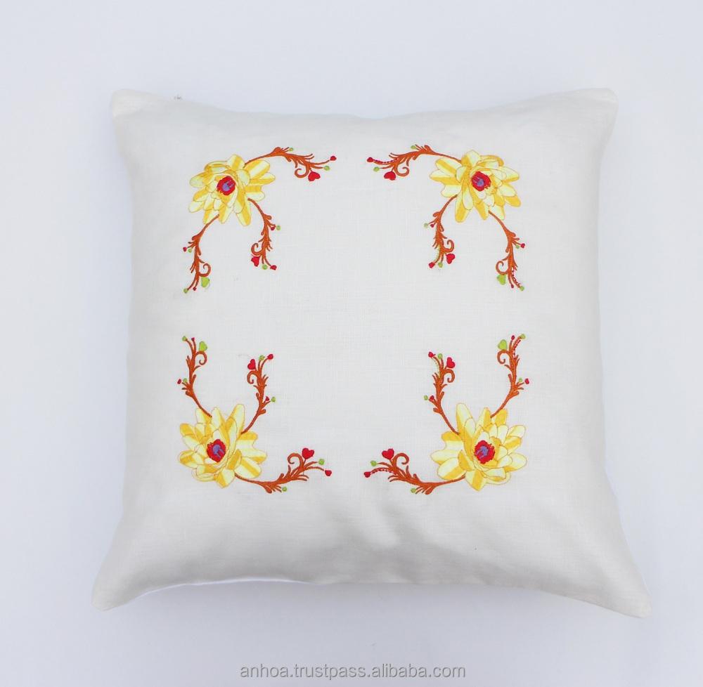Flower Design For Pillow Cover: Latest Design Flower Pillow Cover Handmade Embroidery Cushion    ,