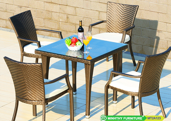 Outdoor Wicker Dining Set Square Table W Glass 4 Arm Chair Restaurant Garden