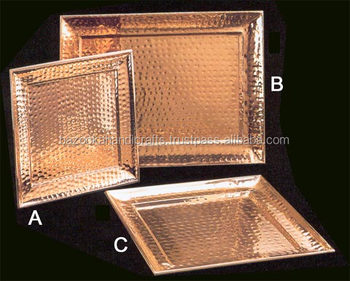 Copper Tray Serving Hammered