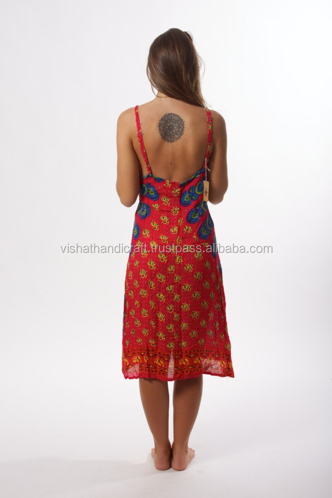 Ladies Medium Pink Read Indian Mandala Boho Hippy Gypsy Dress