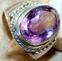 Awesome Purple Amethyst Ring Unique Handmade Design Silver Jewelry