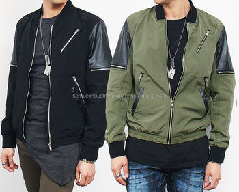 Contrast trim zipper pocket zip up bomber jacketfashion satin