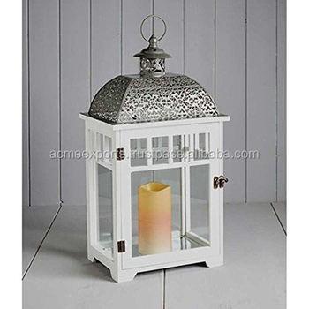 White Wooden Lantern With Metal Top | Japanese Garden Lanterns