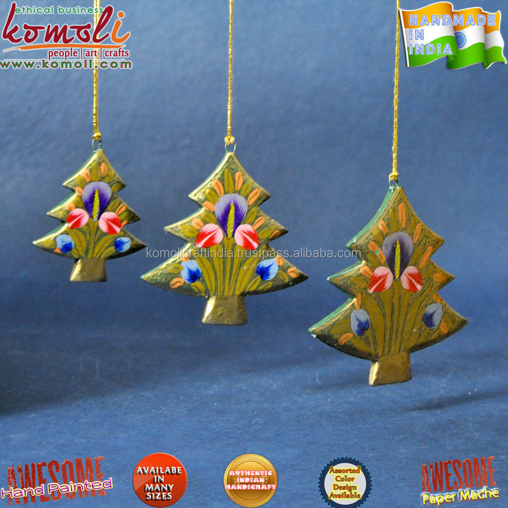 Hand Painted wood cutouts tree shape Indian Christmas ornaments xmas decoration