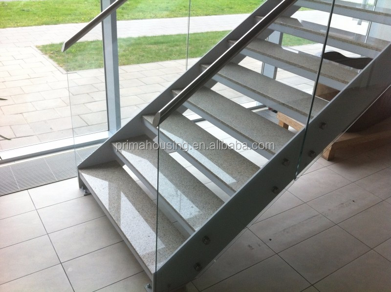 Double Spine Straight Stairway Steel Wood Staircase Double Stringer Metal  Stairway
