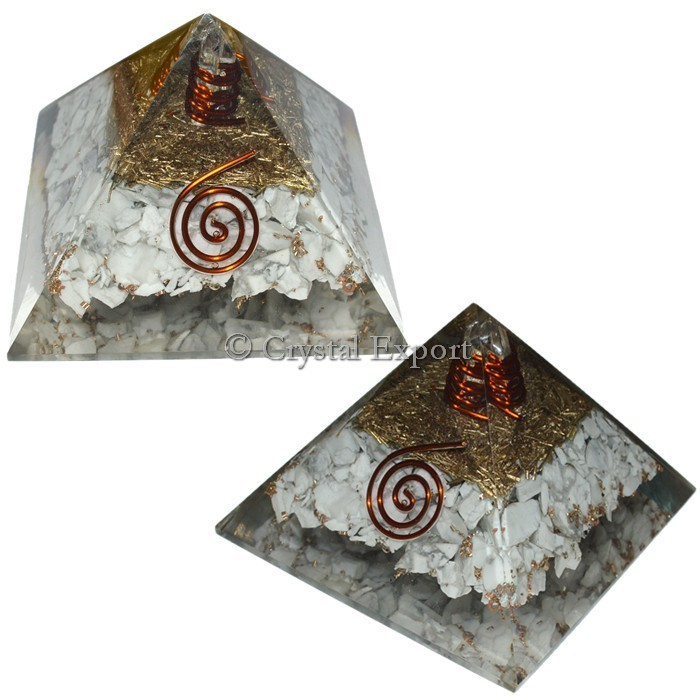 White Howlite Orgone Pyramids with Crystal Point : Buy Online Orgone Pyramids