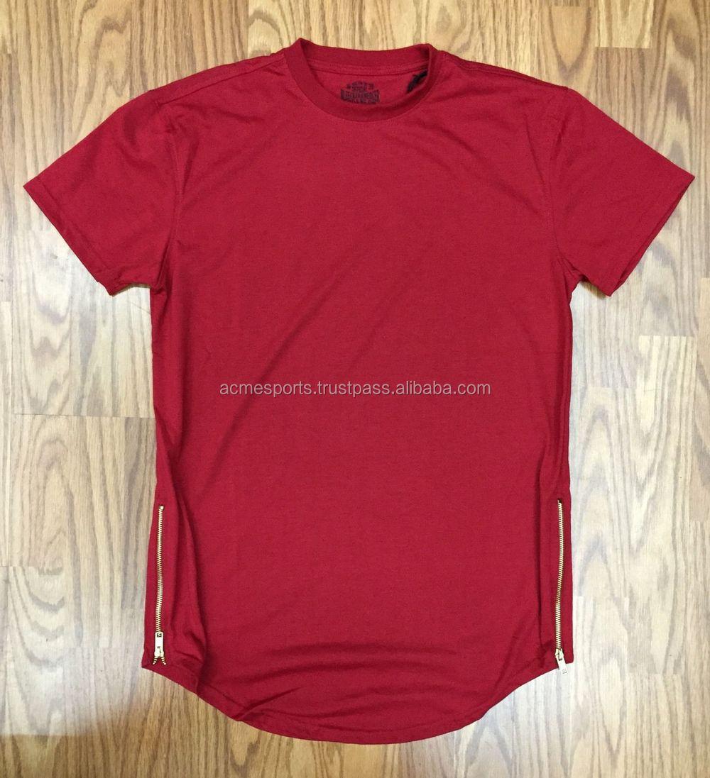 Good quality black t shirt - New Design Elongated High Quality Side Zip T Shirt Design Big Blank Tall T